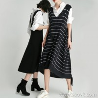 Small insect seamless knit double v-neck black and white striped sleeveless vest over the knee dress female 2018 new long section