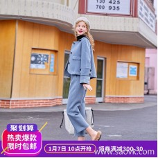 MG baby elephant short short woolen coat female winter new high waist skirt fashion loose casual pants