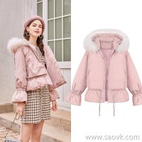 MG elephant short pink coat female new student cute fur collar winter jacket short loose cotton clothing tide