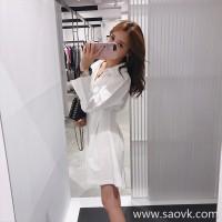 European station 2018 autumn new women's Harajuku bf first love skirt waist carefully machine girl early autumn dress