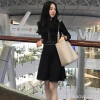 European station 2018 autumn new women's small black dress was thin goddess fan chic skirt small fragrance dress female