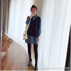 European station 2018 autumn new sweater vest heart machine small fresh shirt skirt fashion two-piece suit female winter