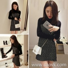 European station 2018 autumn new women's chic early autumn knit sweater bottom bag hip skirt fashion small fragrance