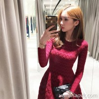 European station 2018 autumn new red long-sleeved knit dress female fashion goddess Fan was thin bottoming skirt