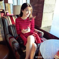 European station autumn and winter new Korean version of the goddess Fan was thin knit red dress female fashion foreign gas skirt tide