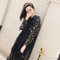 European station autumn and winter new fashion knit vest skirt skirt skirt two-piece suit female floral dress tide