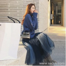 European station 2018 autumn and winter fashion mesh skirt literary goddess fan temperament long skirt sweater two-piece suit female