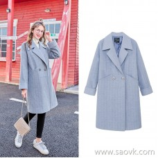 MG baby elephant double-breasted woolen coat female long section loose Korean version of the new winter 2018 popular woolen coat