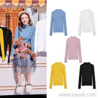 MG baby elephant slim knit bottoming shirt female winter 2018 new fashion retro sweater half high collar pullover top