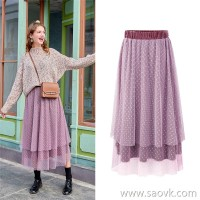 MG elephant in the long section of the mesh skirt female winter student pleated skirt 2018 new loose Korean version of the a word skirt