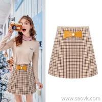 MG elephant high waist plaid skirt female fashion retro skirt winter new slim slimming a word skirt tide