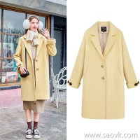 MG elephant in the long section of the woolen coat female loose Korean version of the winter 2018 new students small fresh woolen coat