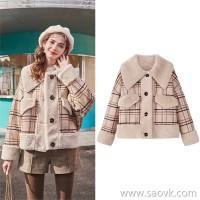 MG elephant short paragraph small woolen coat female 2018 new winter fashion loose retro tartan coat