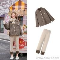 MG elephant winter small woolen coat female loose high waist casual pants 2018 new popular woolen coat