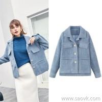MG elephant like water jacket plush coat female winter small man lapel 2018 new fashion popular woolen coat