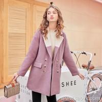 MG elephant winter long woolen coat female new loose Korean student small pink coat coat tide