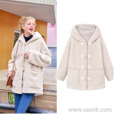 MG elephant elephant woolen coat female winter thick horn buckle coat 2018 new long section woolen coat