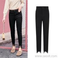 MG elephant black leggings women plus velvet tight skinny feet pants 2018 new lace stitching warm pants