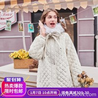 MG elephant winter thick cotton coat female small warm coat 2018 new fashion loose bow cotton clothing