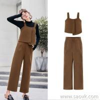 MG elephant like loose casual pants female spring vest sling jacket 2019 new retro high waist straight pants tide