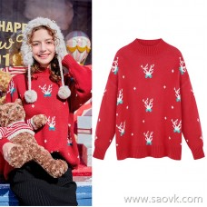 MG elephant red sweater female lazy wind hooded jacket winter new loose casual half-high collar sweater tide