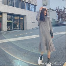 European stand sweater long skirt is very fairy bottoming knit skirt small fragrance inside take loose thin dress autumn and winter