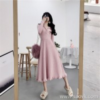 European station winter new super fairy knit sweater long skirt bottoming wild slim goddess fan dress