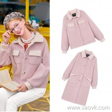 MG elephant 2018 popular woolen coat female winter student fashion 2018 new pink sweet woolen coat