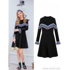 MG baby elephant long knit dress female fashion Korean version of the bottom skirt winter new style retro skirt tide