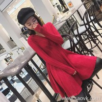 European station autumn and winter new small red dress western festive dress skirt knit thickening base red dress female
