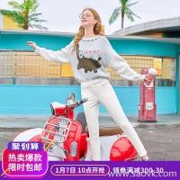 MG elephant high waist plus velvet casual pants female Slim thin feet pants winter 2018 new student chic pants