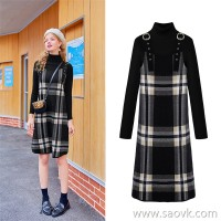 MG elephant in the long plaid dress female high collar bottoming sweater winter new fashion retro strap dress