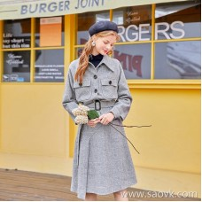 MG elephant retro plaid woolen coat female high waist irregular skirt winter new small man coat