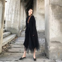 European station autumn and winter new Hepburn style goddess fan sweater skirt mesh dress two-piece suit female long skirt tide