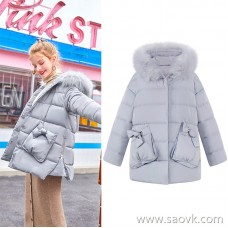 MG small elephant big fur collar casual cotton clothing female loose small man jacket winter new students small fresh cotton coat tide