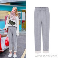 MG baby elephant loose plus velvet casual pants female students high waist straight pants winter new fashion Korean version of chic pants