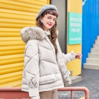 MG elephant student thick cotton coat female 2018 new loose Korean version of the small cotton jacket winter large fur collar cotton jacket