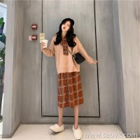 European station new first love European and American style goddess long skirt plaid shirt skirt with sweater two-piece suit female autumn and winter