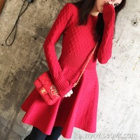 European station autumn and winter new Korean version of the dress Western festive small red skirt sweater fashion knitted red dress female