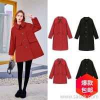 MG elephant red woolen coat female winter 2018 new retro loose fashion long section Hepburn woolen coat