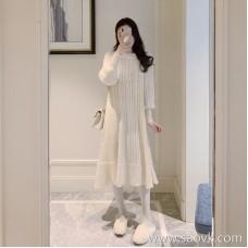 European station winter new Hong Kong-flavored super fairy long skirt sweater bottom skirt goddess Fan Wenyi inside dress female