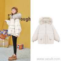 MG elephant winter big fur collar cotton women loose thick warm small cotton jacket 2018 new small cotton clothes tide