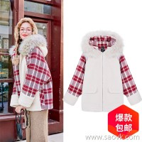 MG small elephant plaid cotton clothing female 2018 new winter lamb hair stitching jacket student loose casual cotton tide