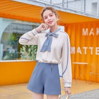 MG elephant elephant bottoming shirt female winter high waist casual shorts 2018 new small fresh bow loose shirt tide
