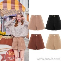 MG elephant high waist casual shorts women winter wear straight pants 2018 new fashion students Korean version of the pants tide