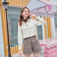 MG elephant retro high waist shorts female loose Korean straight pants winter 2018 new fashion casual pants tide