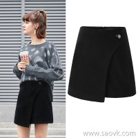 MG elephant black high waist skirt female winter irregular skirt 2018 new loose student a word skirt