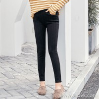 MG elephant streak high waist casual pants female winter tight feet pants 2018 new Korean students chic pants