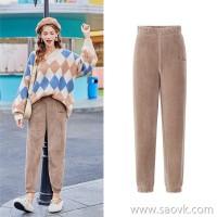 MG elephant high waist casual pants women winter plus velvet thick warm trousers 2018 new loose fairy warm pants