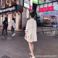 European station 2018 summer white loose shirt skirt Harajuku bf small fresh girl heart literary fan dress tide